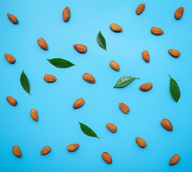 アーモンドナッツのパターンは、緑の葉と青に配置されます