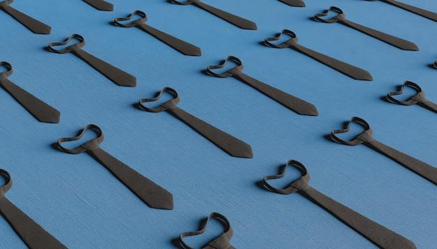 紺色の背景と黒の生地のネクタイのパターン