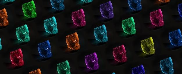 어두운 배경, 보석 개념, 파노라마 이미지 위의 귀중한 다색 돌의 패턴