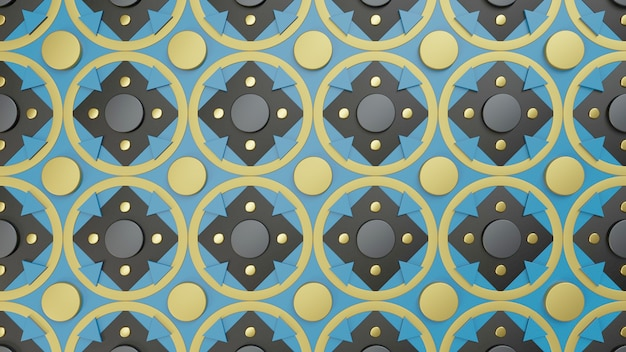 Узор из различных фигур в синий черный и золотой 3d визуализации