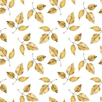 白い背景の上の水彩画の秋の黄色の葉のパターン