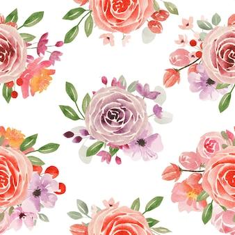 Шаблон акварельных роз и листьев