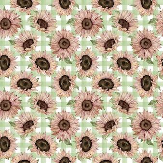 緑の格子縞の背景に水彩ひまわりのパターン。手描きの花のイラスト。