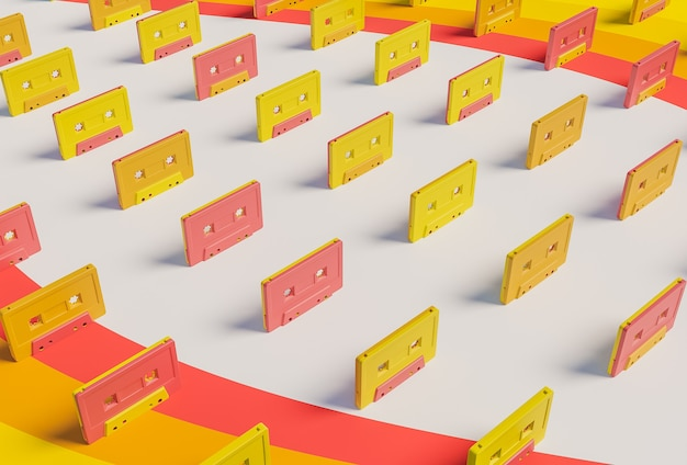 Pattern of old cassettes with bright colors in vintage style on a surface of colored lines. 3d rendering