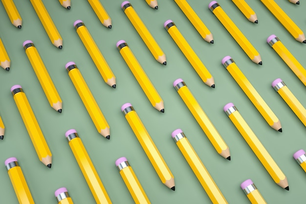 Pattern of pencils on green background. 3d render