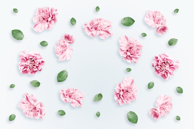 Pattern of pink and beige roses and green leaves on a white background