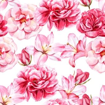 Узор розовые цветы премиум вектор.
