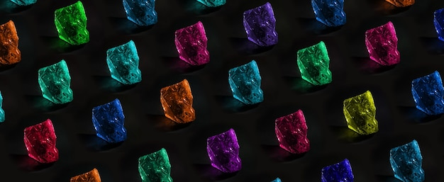 Pattern of precious multi-colored stones over dark background, jewelry concept, panoramic image
