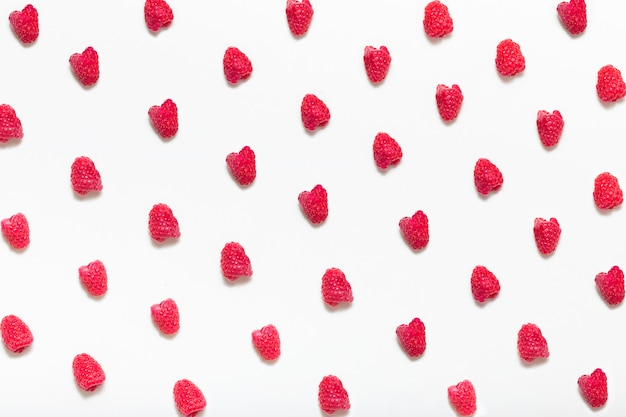 Pattern of raspberries from top view