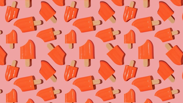A pattern of red nibbled popsicle on a red background. a popular summer snack.