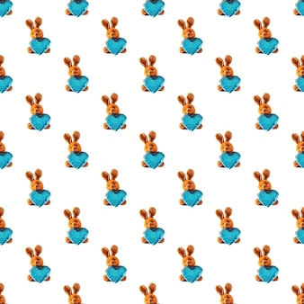 Pattern seamless, brown hare with a blue heart.