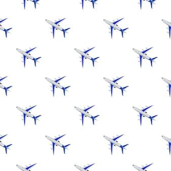 Шаблон, бесшовные модели текстуры самолета, самолет на белом фоне. летние путешествия или отпуск. креативная композиция из пассажирского самолета. вид сверху, плоская планировка.
