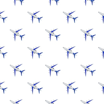 Pattern, seamless model airplane texture, plane on white background. summer travel or vacation pattern. creative composition made with passenger plane. top view, flat lay.