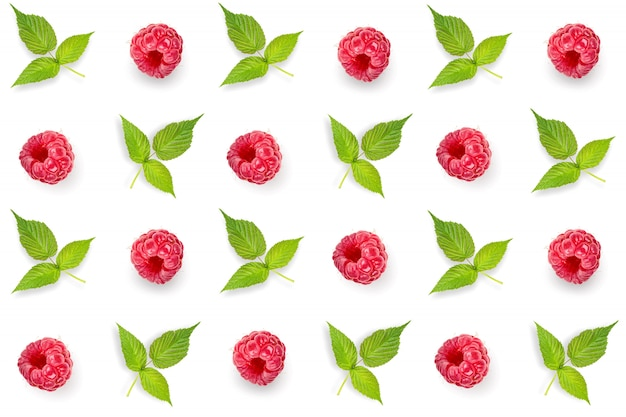 Pattern, seamless, set with raspberries and green leaves isolated on white background. top view .