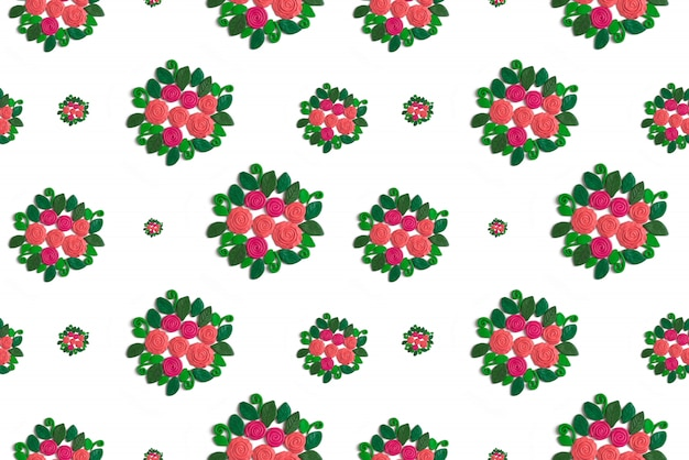 Pattern seamless wreath of flowers and leaves on a white background
