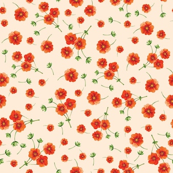Pattern of small orange flowers on a beige background. textile background. watercolor.