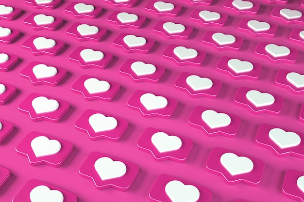 Pattern social media message and notification icon on a pink pin with a heart. 3d illustration