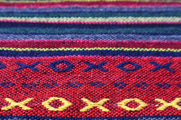 Pattern and texture of the colorful thai northern region's textile