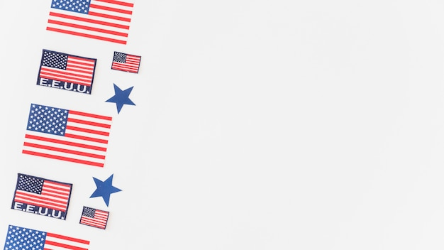 Pattern of usa flags on white background