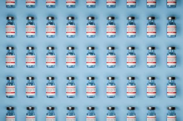 Pattern of vaccine bottles against covid-19 with injection fluid. coronavirus vaccine. blue background. 3d ilustration