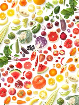 Pattern of various fresh vegetables and fruits isolated on white