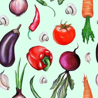 Pattern. vegetables hand-drawn by aquarium. oil painting. mushrooms, carrots, onions, beets, avocados, mushrooms, garlic, broccoli, eggplant.