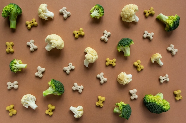 Pattern of vegetarian dog biscuit in shape of bones with broccoli and cauliflower on beige background