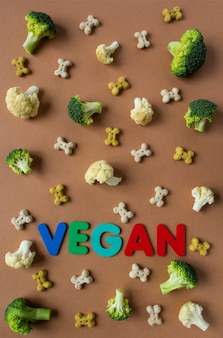 Pattern of vegetarian dog snack and vegetables on the beige surface with lettering vegan.