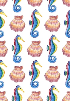 Pattern of watercolor illustration of scallop shell and seahorse seamless repeating print