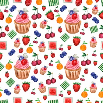 Pattern of watercolor painted collection of fruits and berries and cupcake.