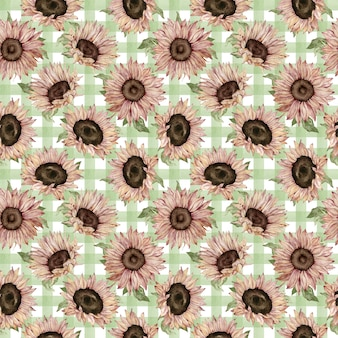 Pattern of watercolor sunflowers on green plaided background. hand-drawn floral illustration.