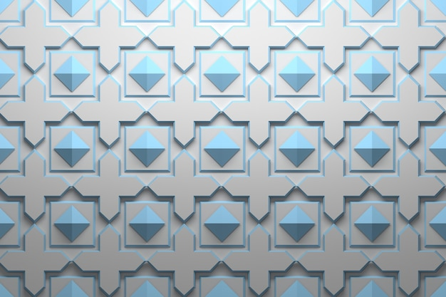 Pattern with blue geometric repeating elements