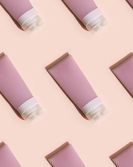 クリーム、ジェル、ローション用の化粧品ボトルのパターン。美容製品パッケージ、プラスチック容器のモックアップ