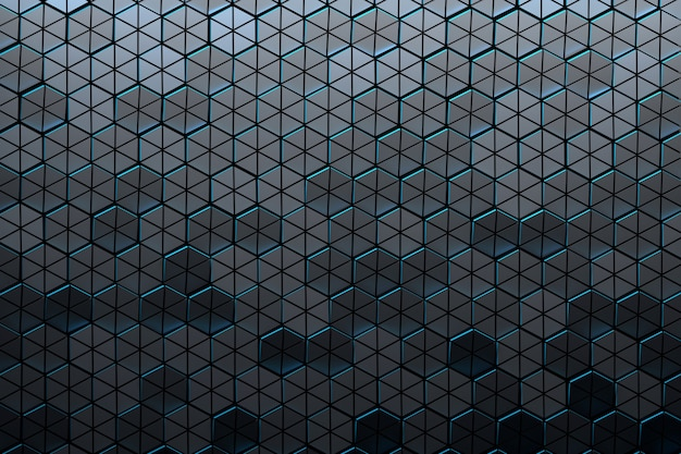Pattern with dark structured hexagons