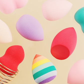 Pattern with flying colorful cosmetic beauty sponges different form