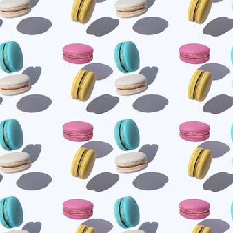 Образец с летающими миндальным печеньем в абстрактном стиле на красочном фоне. волшебная сюрреалистическая концепция. современная летняя концепция минимальной моды.