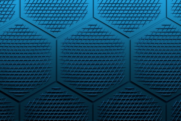 Pattern with large hexagons and decorative mesh in dark blues.