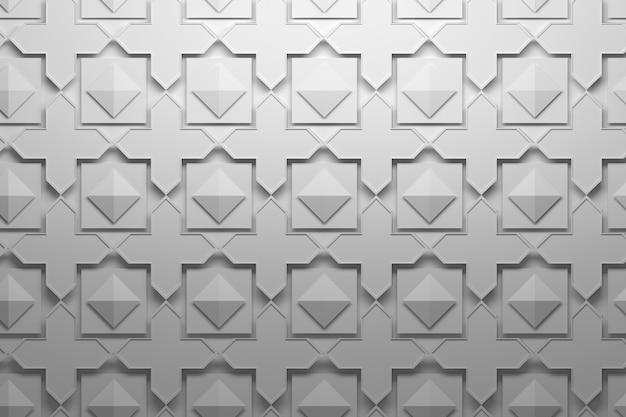 Узор с многослойной повторяющейся плиткой элементов - кресты, пирамиды, квадраты