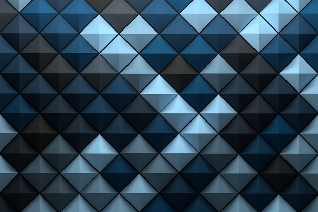 Pattern with low poly geometric pyramid tiles colored with random blue gray shades