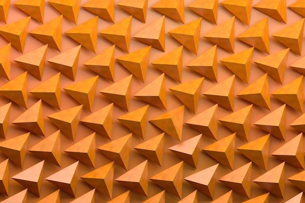 오렌지 배경에 많은 피라미드와 패턴입니다. 3d illutration.