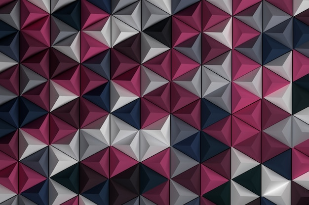 Pattern with repeating pyramids. randomly colored geometric shapes in pink blue dark color.