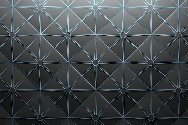 반복되는 정사각형 피라미드 타일과 별 모양의 와이어 프레임 패턴