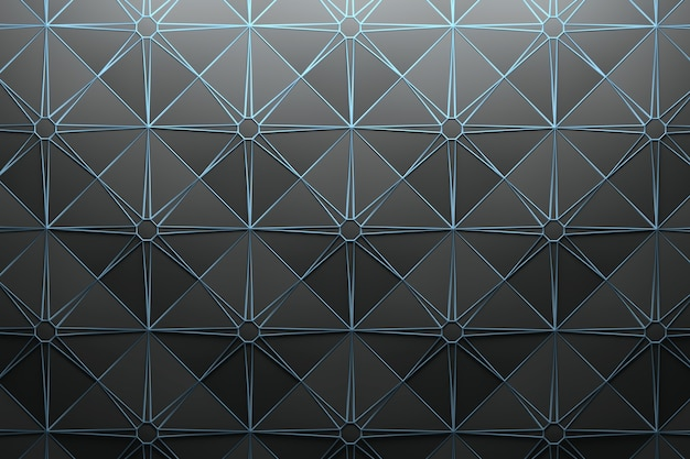 Pattern with repeating square pyramid tiles and star-shaped wire frame