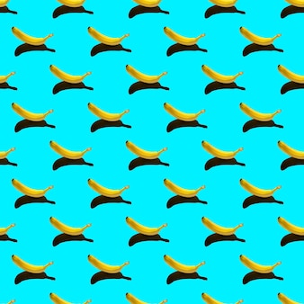 熟した黄色いバナナが分離されたパターン