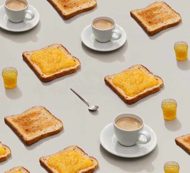 Узор с тостами и лимонным джемом на сером фоне