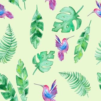 Узор с тропическими листьями и колибри