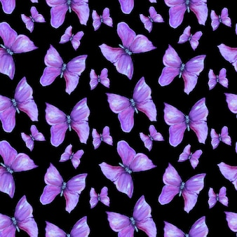 Pattern with violet butterflies