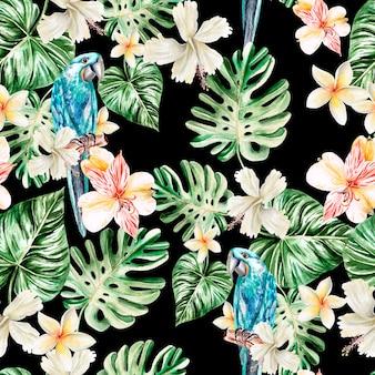 プルメリア、アルストロメリア、オウムの水彩画のリアルな花のパターン。図。