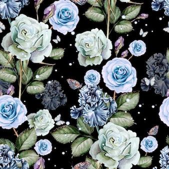 水彩のリアルなバラとアイリスのパターン。図。
