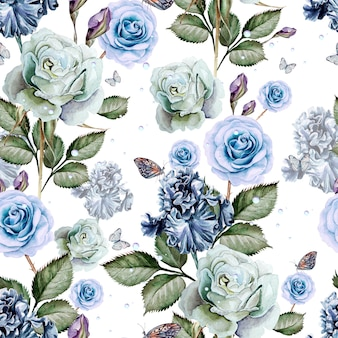Pattern with watercolor realistic rose and iris. illustration.